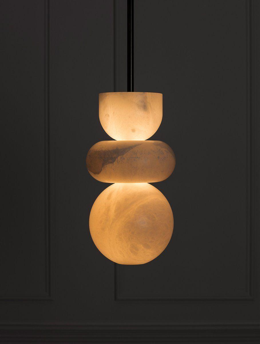 Alabaster Totem 3 In 2020 Stone Lighting Lamp Brass Floor Lamp