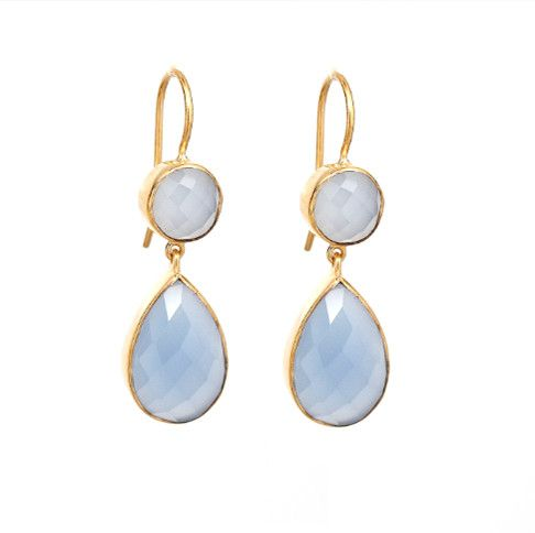 Blue Chalcedony Double Tier Earrings