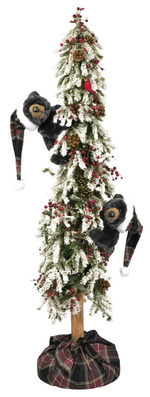 christmas trees with black bears 72 ditz pre lit christmas flocked tree black bear - Black Bear Christmas Decor