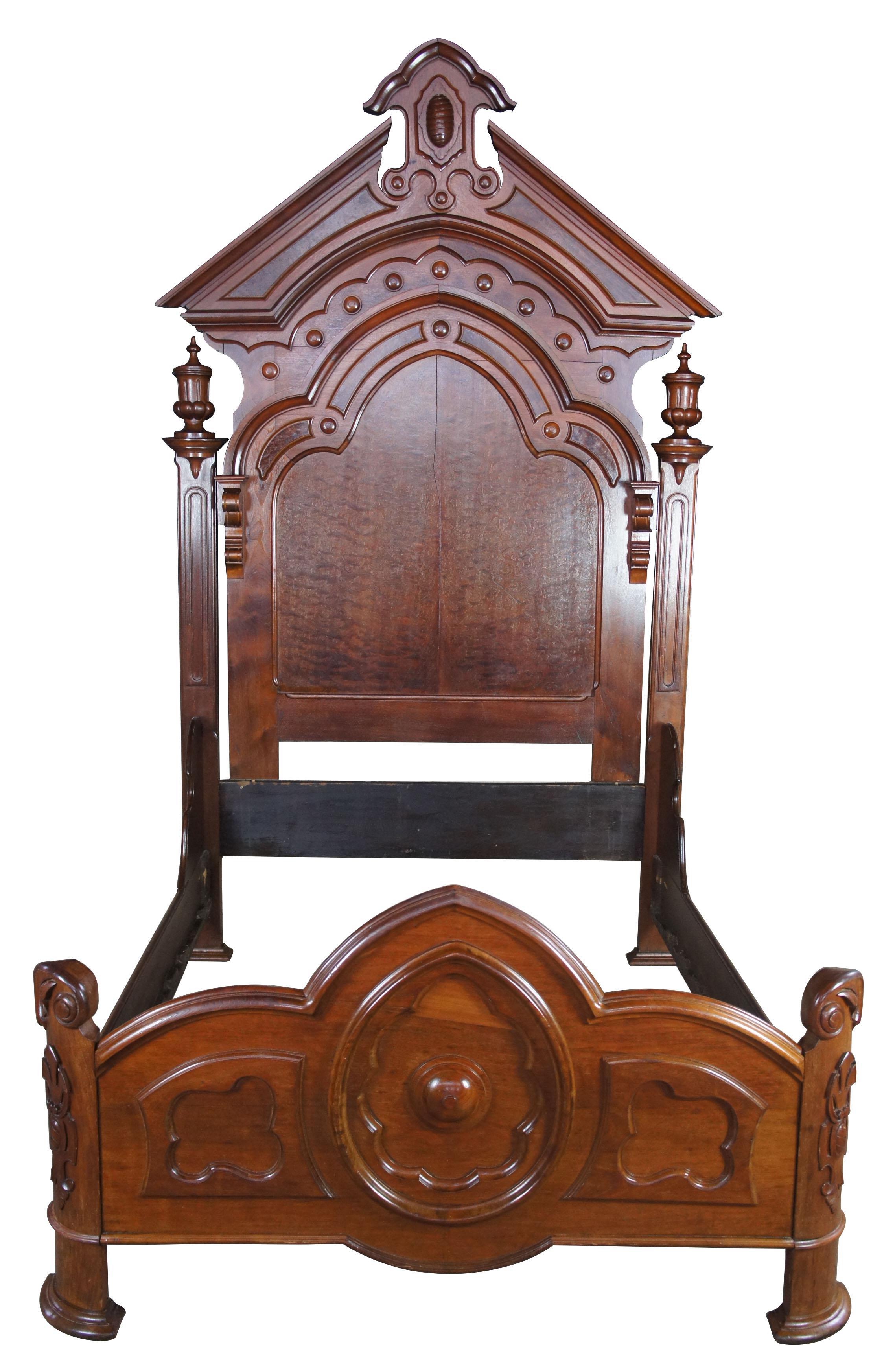Antique Victorian Carved Walnut Highback Full Bedframe In 2020
