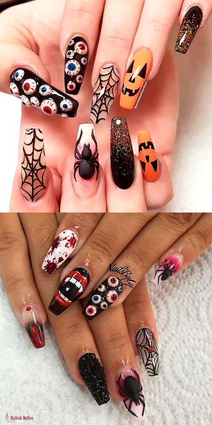 Spooky Halloween Press On Nails Halloween Halloweennails Halloweennailart Pressonnails Halloween Nails Diy Halloween Nail Designs Skull Nails