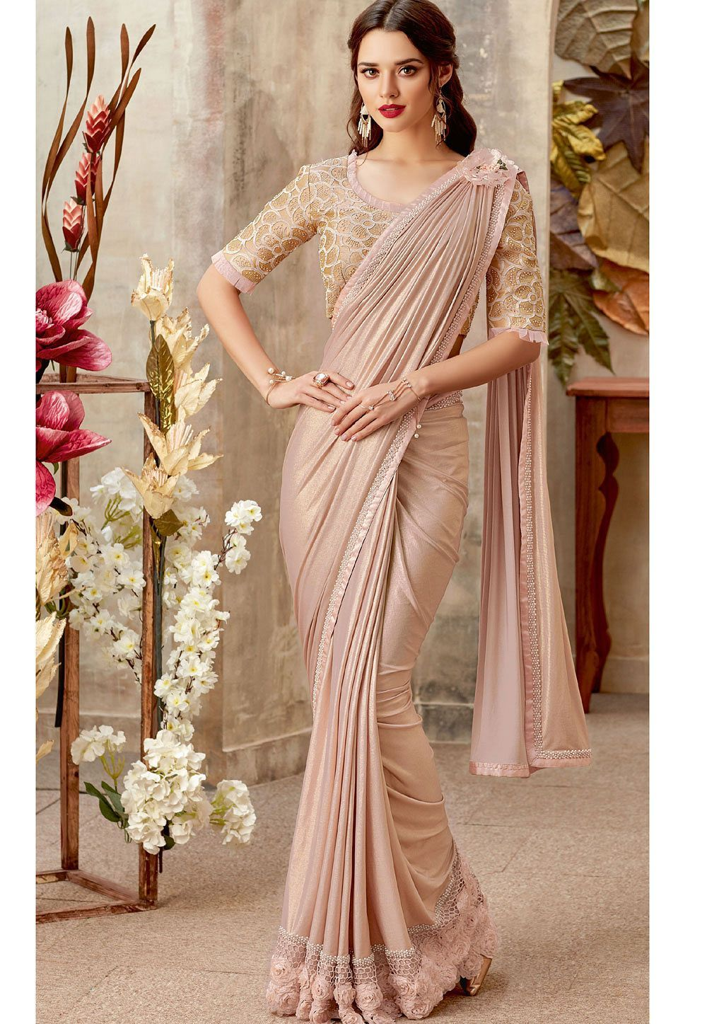 1a0caaa791f2ed Buy Blush lycra designer party wear Saree in UK, USA and Canada in ...