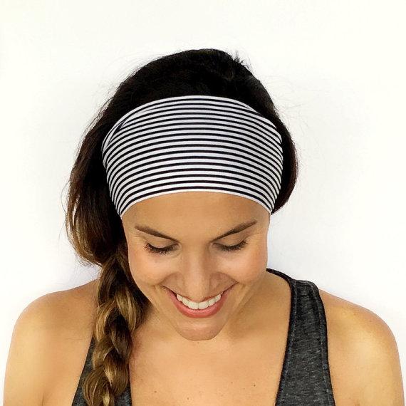 3d8949940c66 Yoga Headband - Workout Headband - Fitness Headband - Running Headband -  Black + White Print - Boho