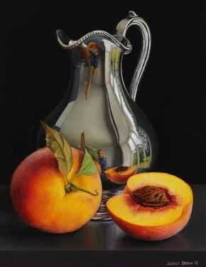 Still Life with Tall Silver Cream Jug and Peaches Jessica Brown