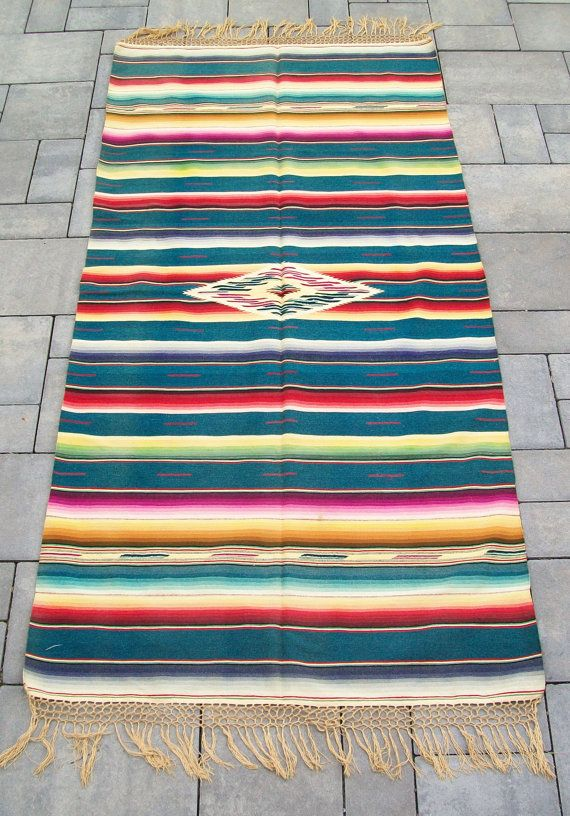 Vintage 1940 S Mexican Indian Serape Saltillo Rug By