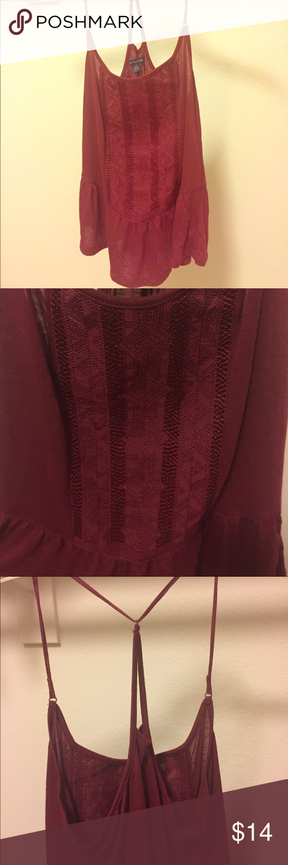 ✨Christmas Sale✨Red American Eagle Tank Top Red American Eagle tank top. Worn less than a handful of times. 65% Polyester. 35% Rayon. American Eagle Outfitters Tops Tank Tops