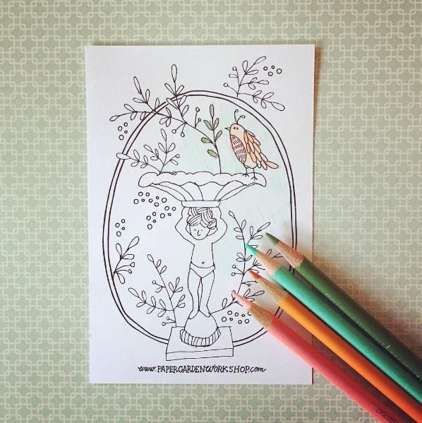 Birdbath Coloring Sheets My Drawings Bird Bath Website Sign Up