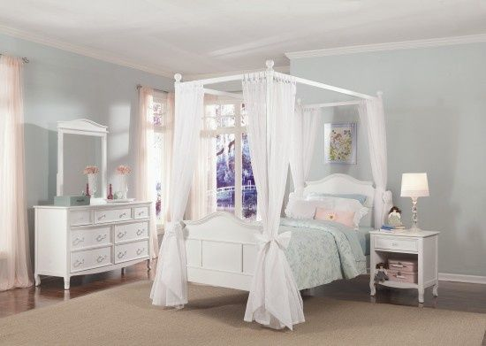 White Canopy Bed | Emma Collection Full Size Poster Canopy Bed in White  Comfortla. & White Canopy Bed | Emma Collection Full Size Poster Canopy Bed in ...