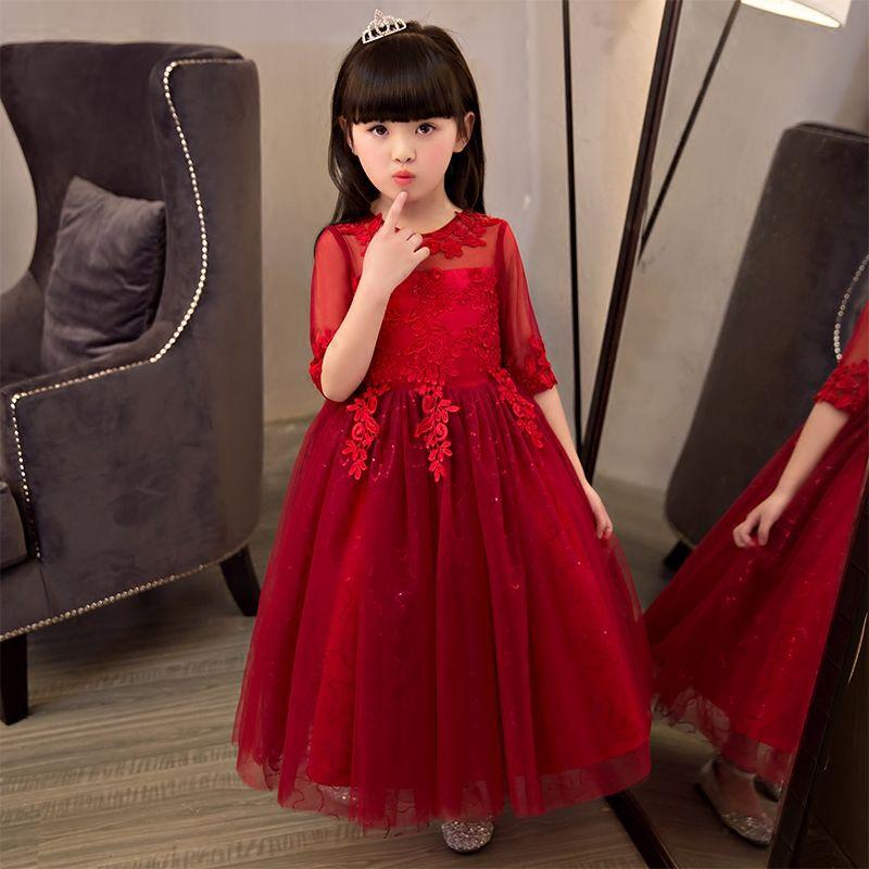 Elegante vestido de fiesta de tul rojo de lentejuelas niñas vestido ...