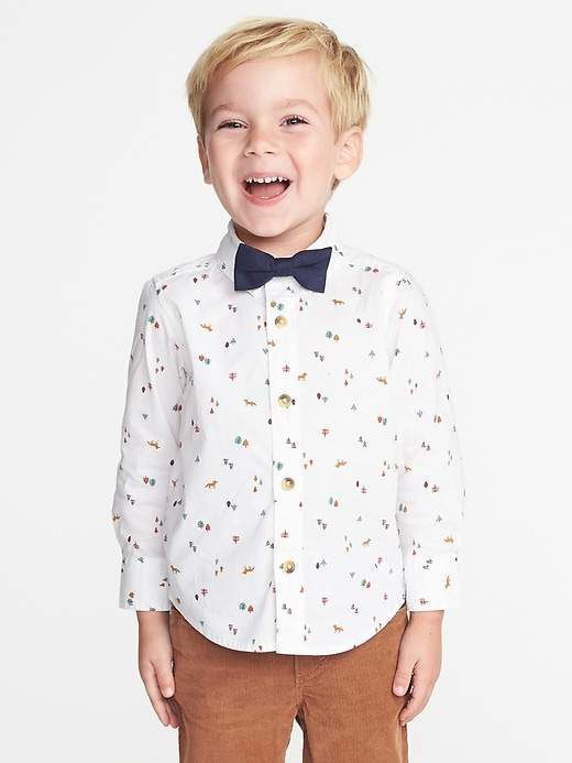 b73669b8a1ab Printed Shirt & Bow-Tie Set for Toddler Boys | Toddlers | Printed ...