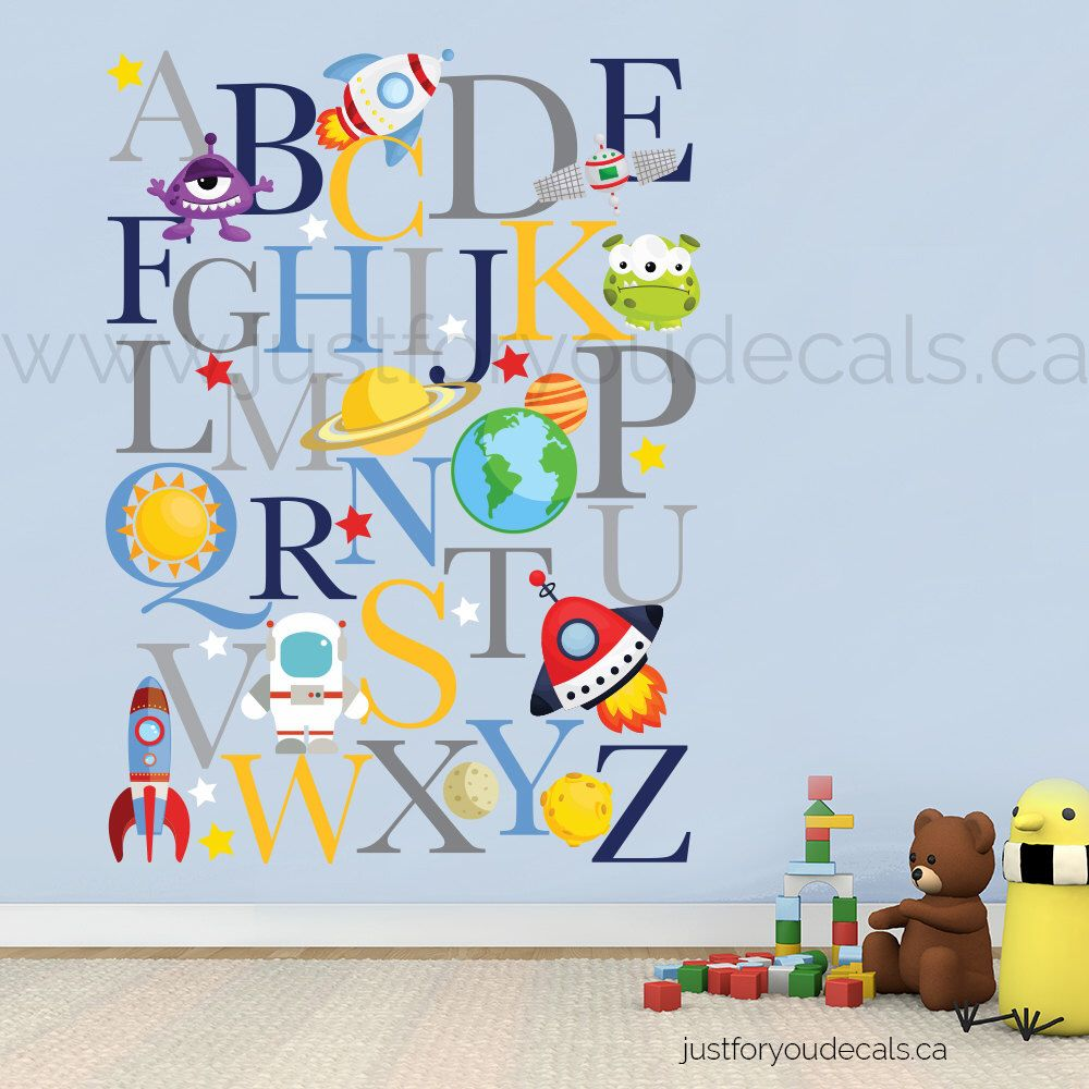 Space Wall Decal Alphabet Nursery Wall Decal Playroom Wall - Educational wall decals