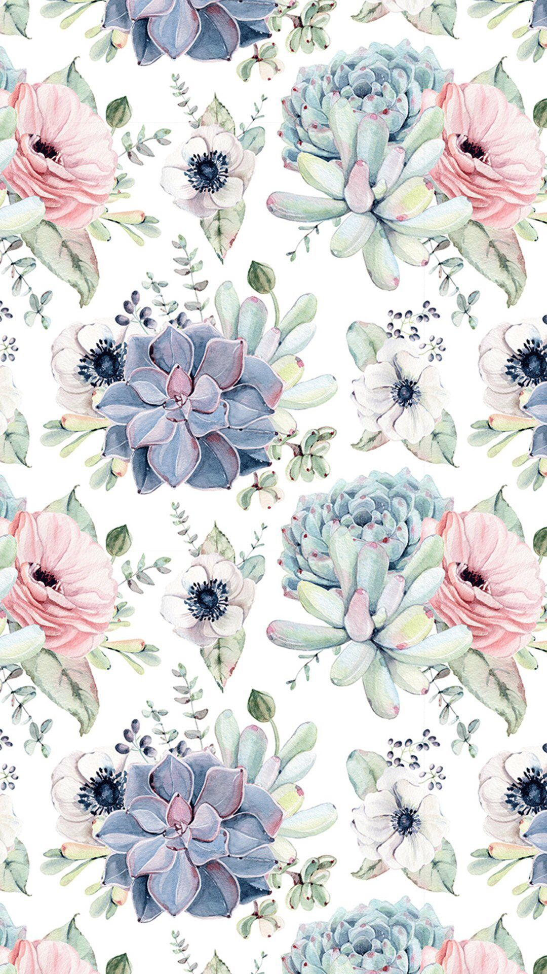 Succulents watercolour patterns and images perfect for - Flower wallpaper for phone ...