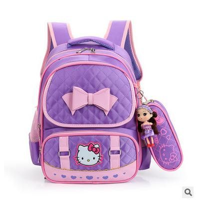 2017 New Hello Kitty Backpack Female Girl School bags Primany SchoolBag for  girls children backpack sac a dos enfant 4a5bbd6a6edc9