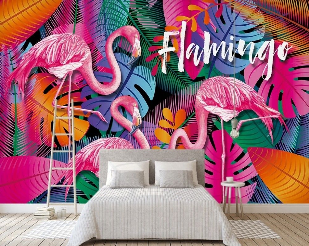 Pink Flamingo with Colorful Leaf Wallpaper Mural