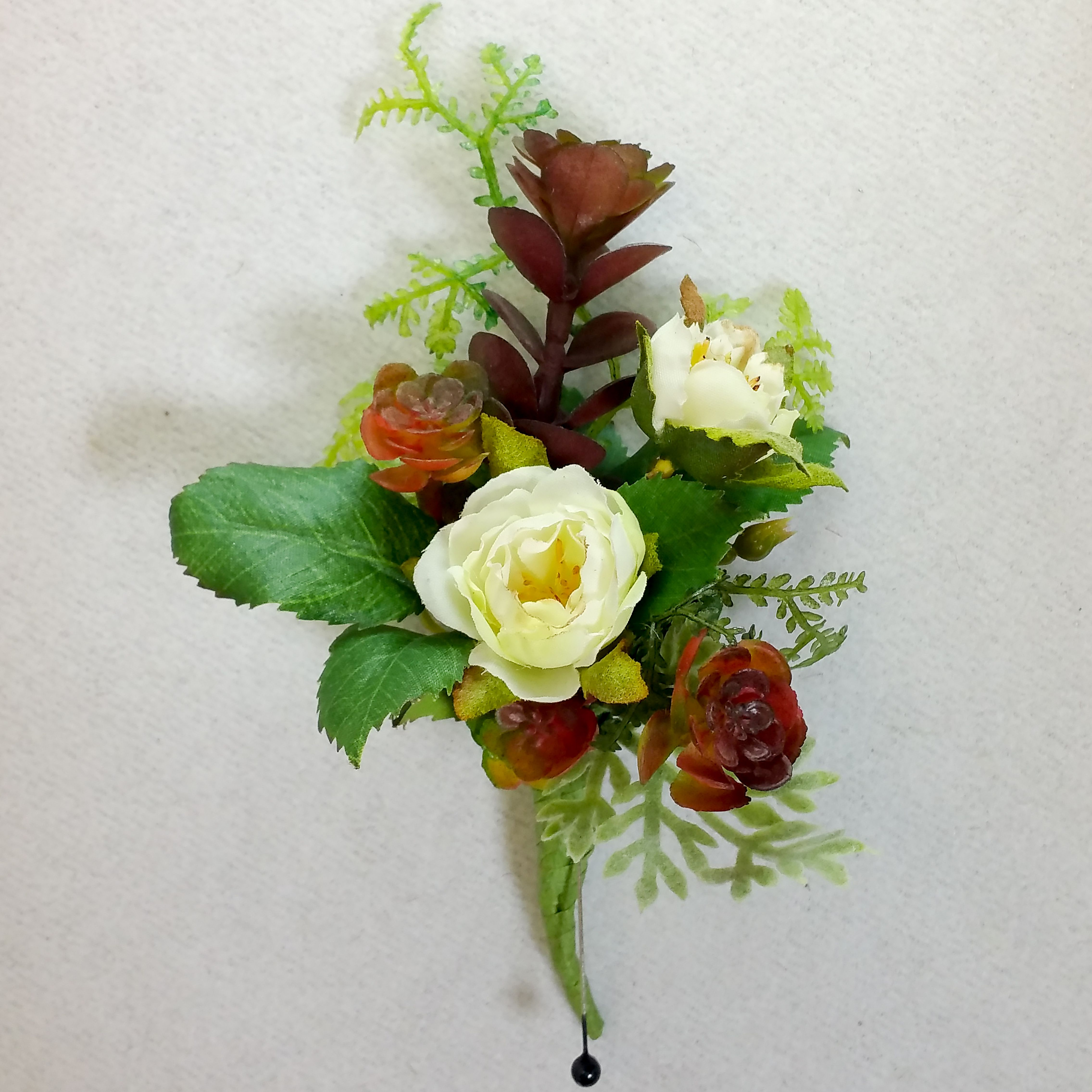Best Mans Boutineer With Succulents And White Roses By House Of