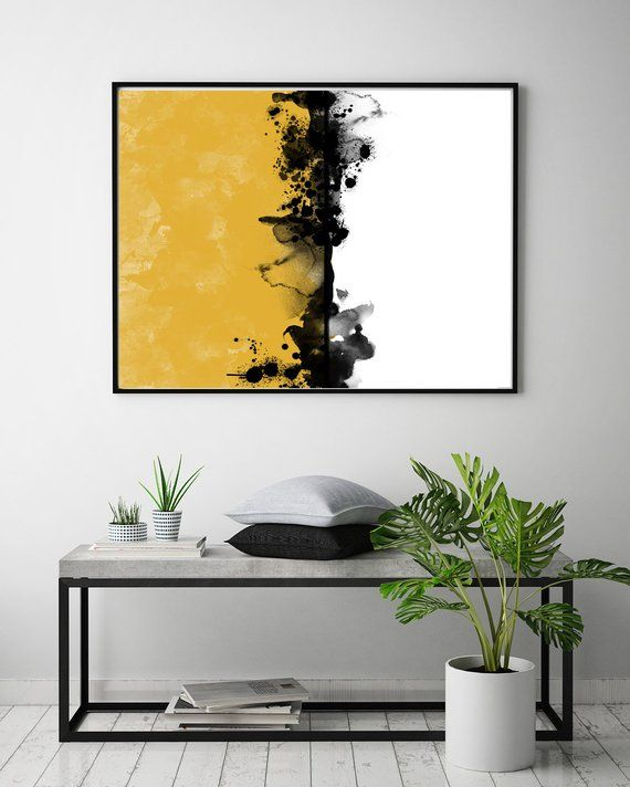 Mustard Print Wall Art Printable Art Digital Print Yellow Etsy Abstract Art Poster Art Cactus Wall Art
