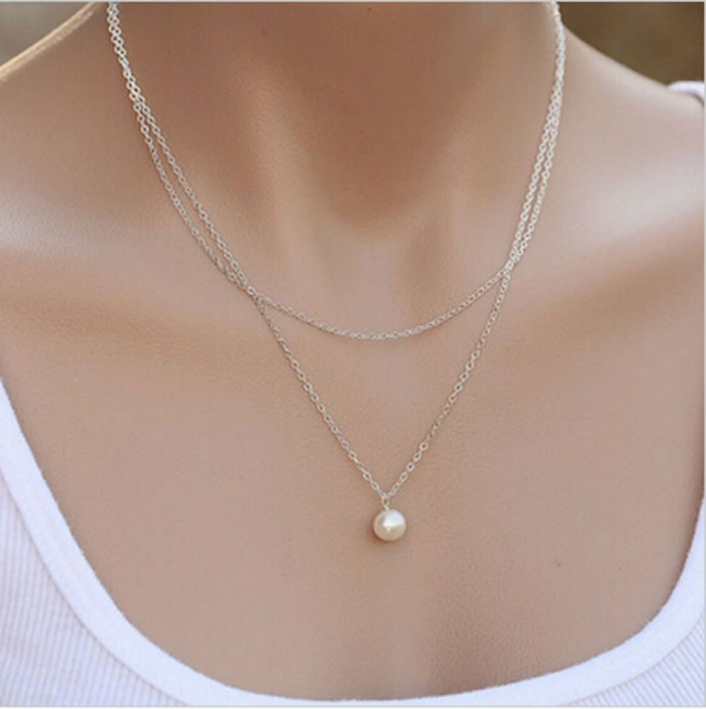 New Arrival Simulation Pearl Necklace Double Layer Long Chain for Women & Girls