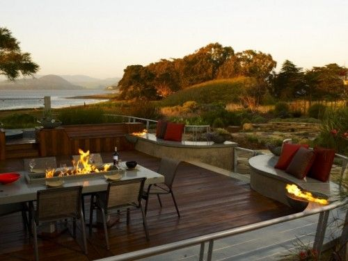 Contemporary Landscape Design, Pictures, Remodel, Decor and Ideas - page 15.  rounded seating area...fireplace on table..
