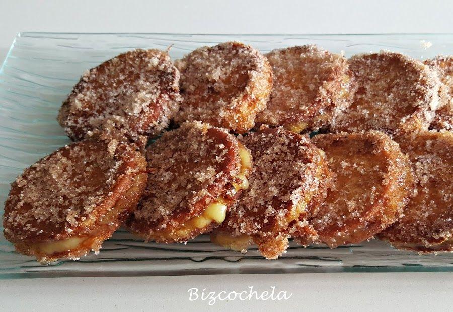 Galletas fritas rellenas de crema   Cocina