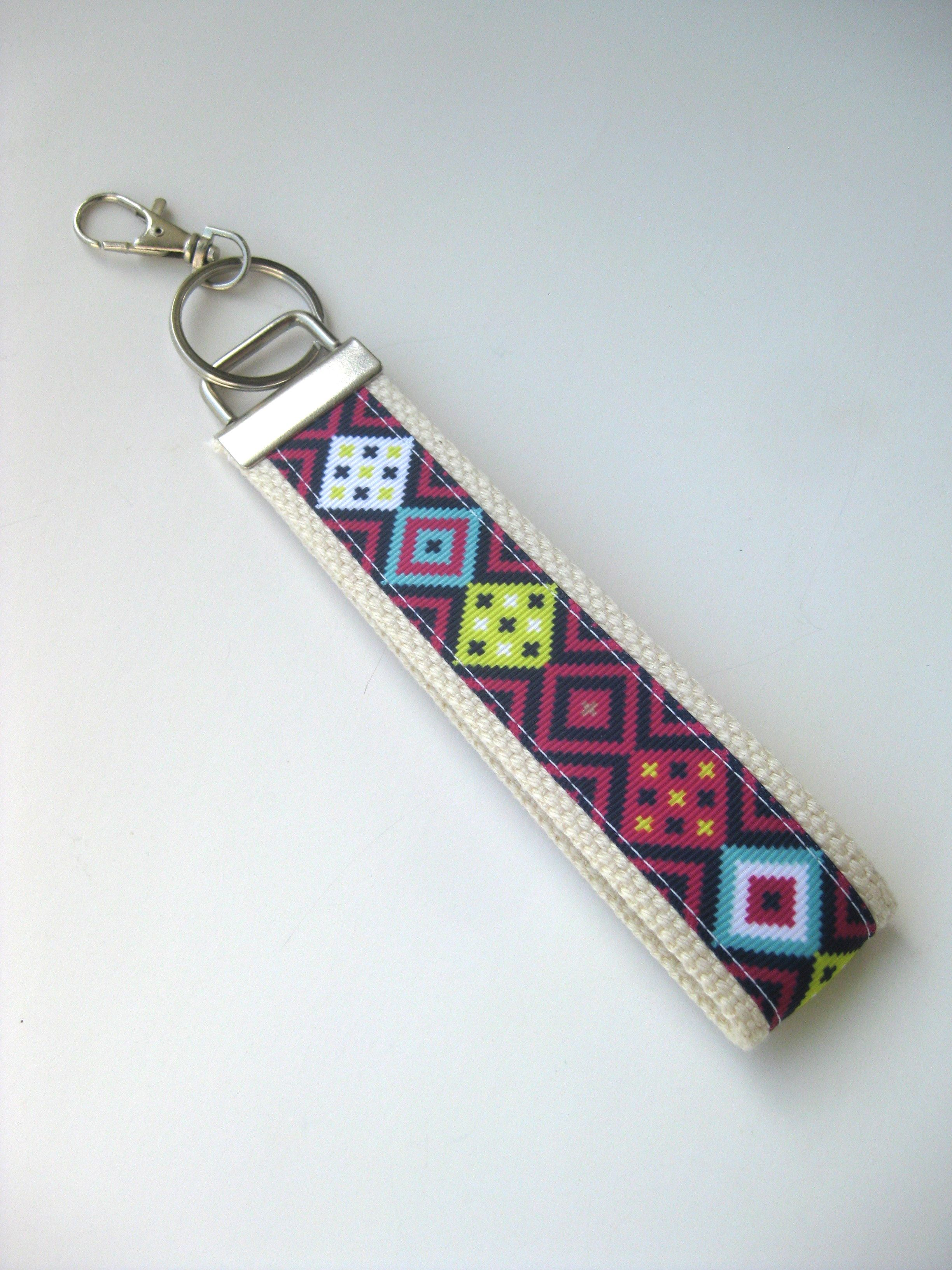 Navy Pink Tribal Print on Tan Key Fob- Aztec Keychain for Women- Women s Key  Fob 7dc5edadc1