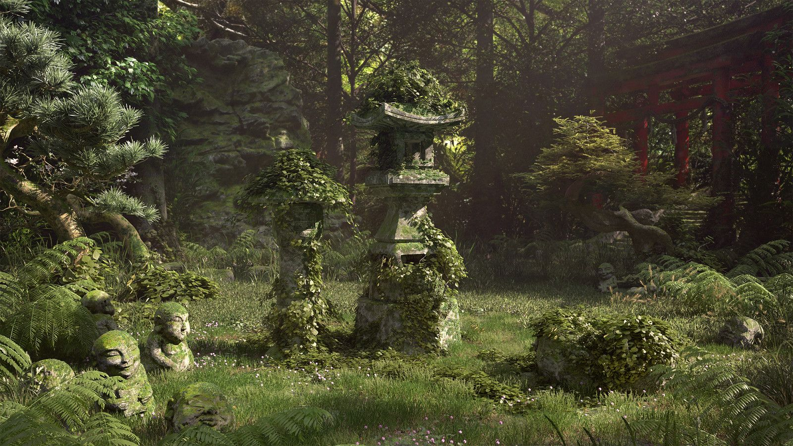 lost garden, Rodrigue Pralier on ArtStation at https://www.artstation.com/artwork/85l2m?utm_campaign=notify&utm_medium=email&utm_source=notifications_mailer
