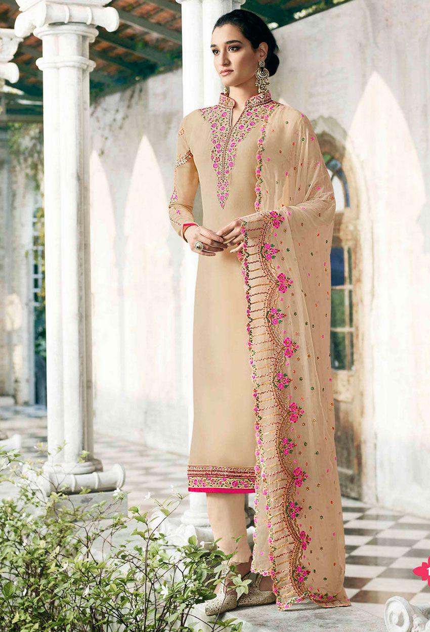 896e90d9eb Beige Georgette Designer Pakistani Salwar Suit #unstitched  #unstitchedsalwarkameez #unstitchedsalwarsuit #salwarkameez #salwarsuit # Suit #nikvik #usa ...