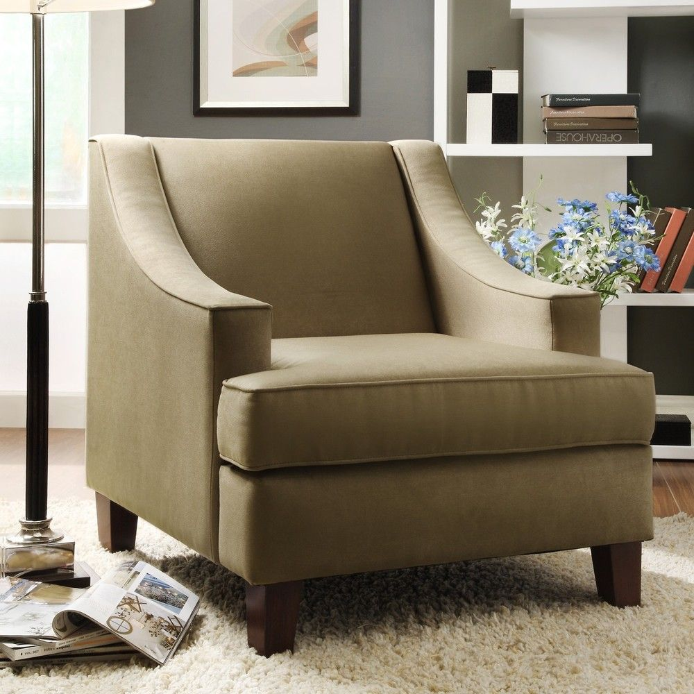 Winslow Cherry Finish Taupe Brown Chair  Overstock Beauteous Overstock Living Room Chairs Inspiration
