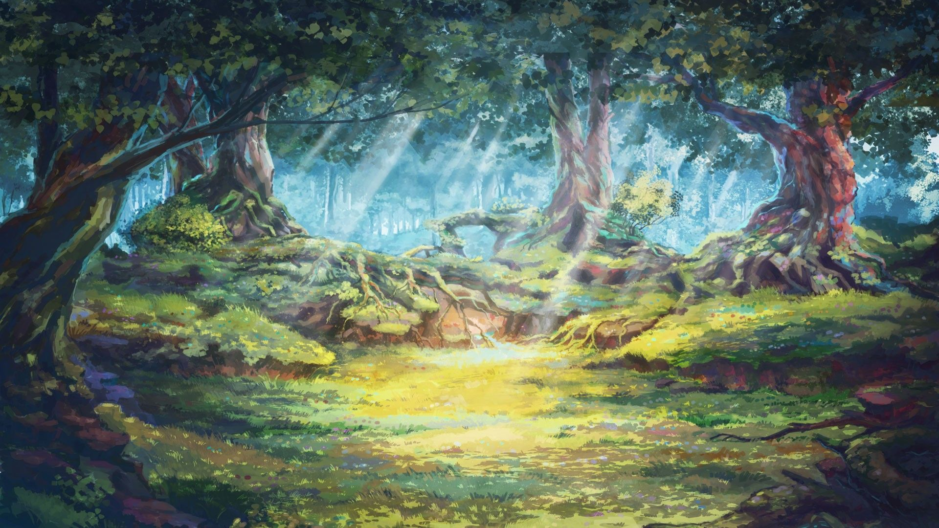 Everlasting Summer Trees Forest Sun Rays Sunlight Artwork Forest Clearing Roots Wallpaper Nature Illustration Forest Art Forest Illustration