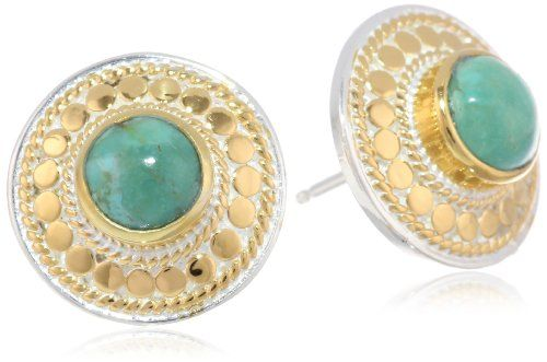 """Anna Beck Designs """"Gili Turquoise"""" 18k Gold-Plated Turquoise Stud Earrings Anna Beck Designs,http://www.amazon.com/dp/B00E7O9C3G/ref=cm_sw_r_pi_dp_u2-vsb1F4H7G6N98"""