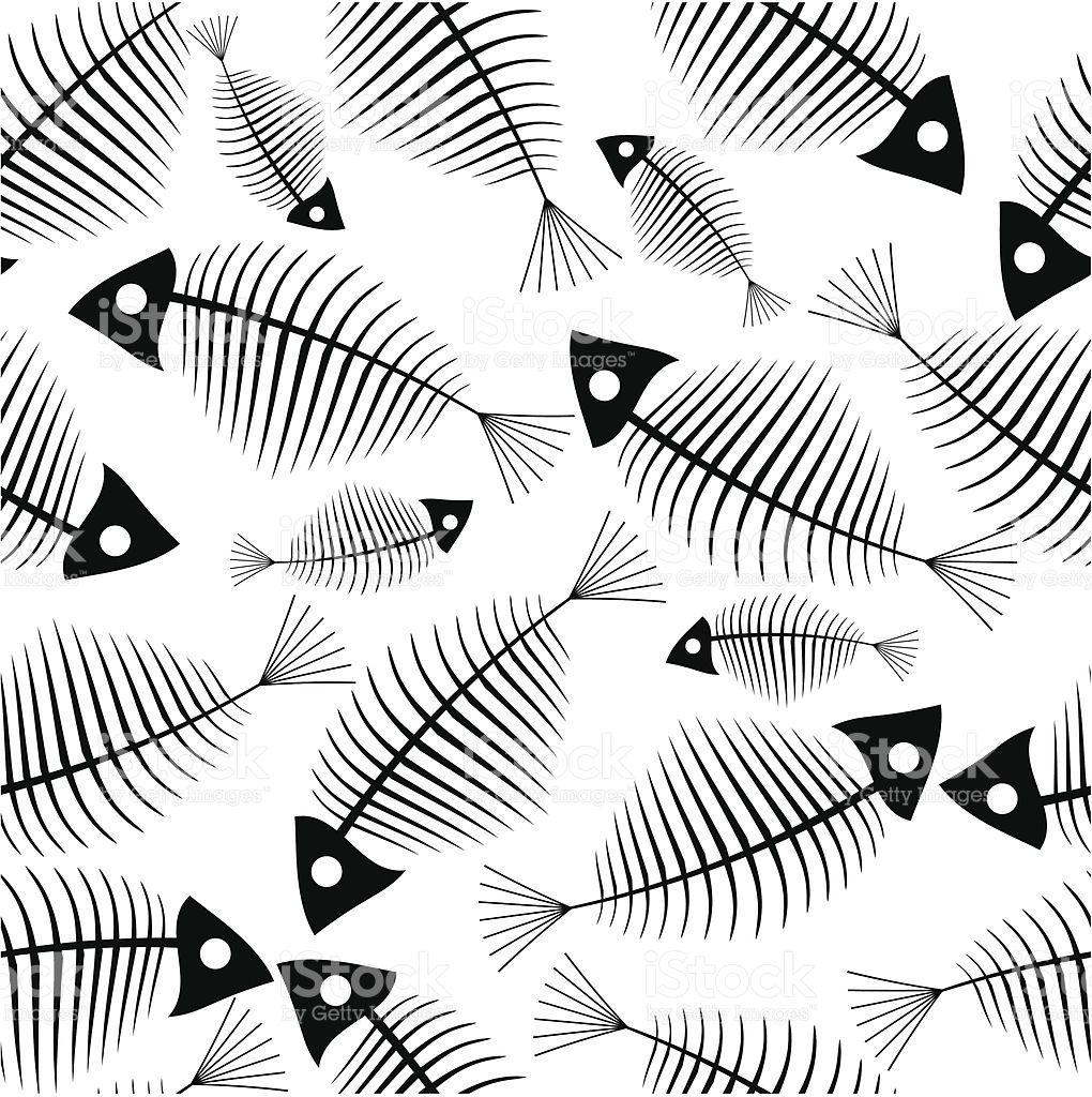 Fish skeleton seamless vector wallpaper royalty-free stock vector art