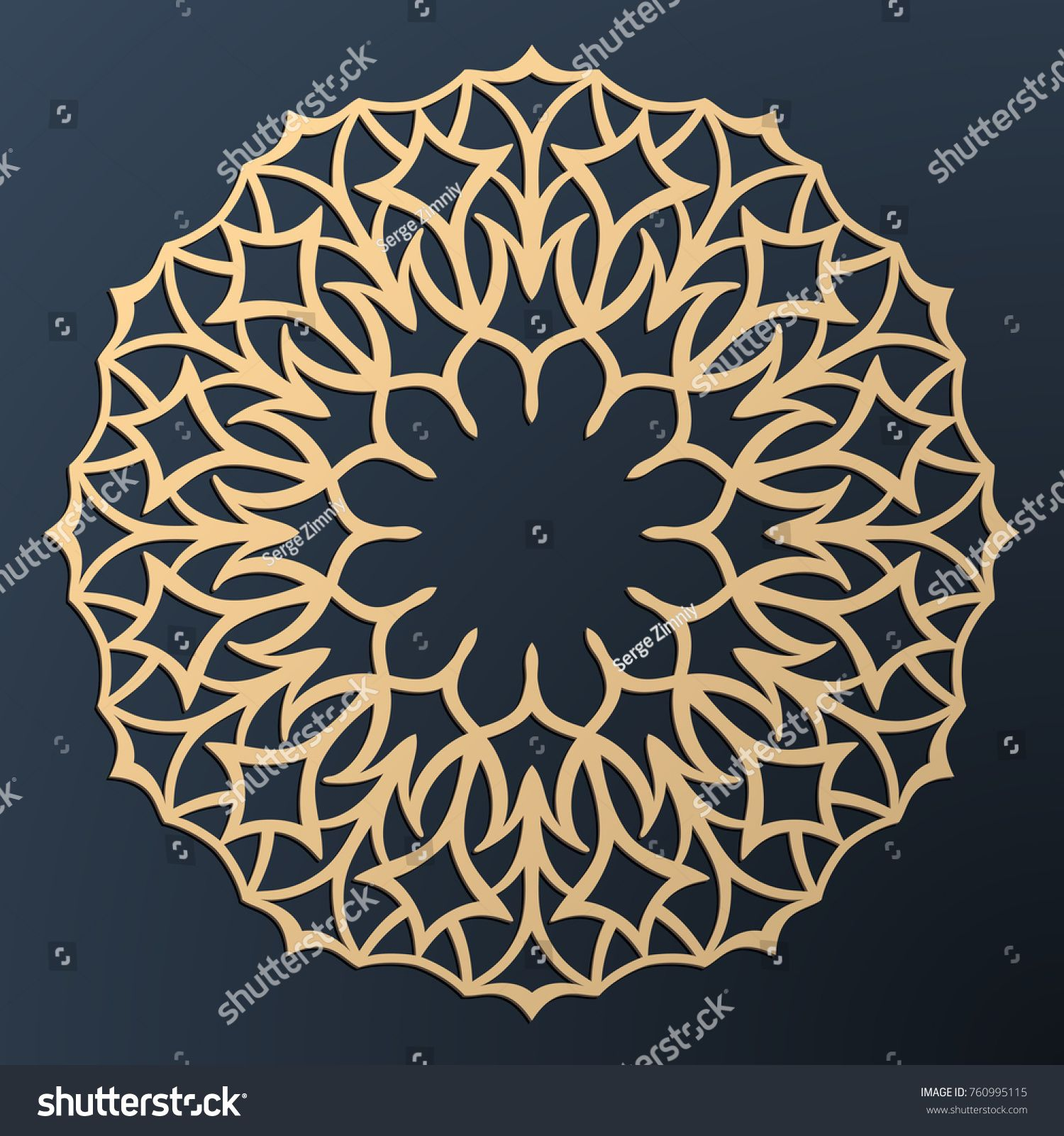 Laser Cutting Mandala Golden Floral Pattern Oriental Silhouette Ornament Vector