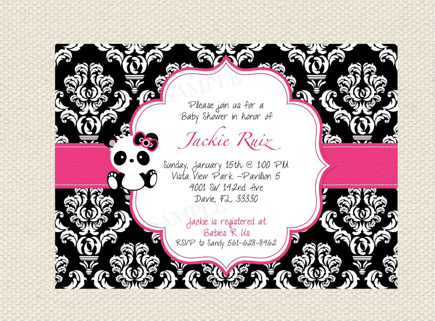 Damask or Polka Dot Baby Panda Baby Shower Invitation & Tag Set- DIY ...