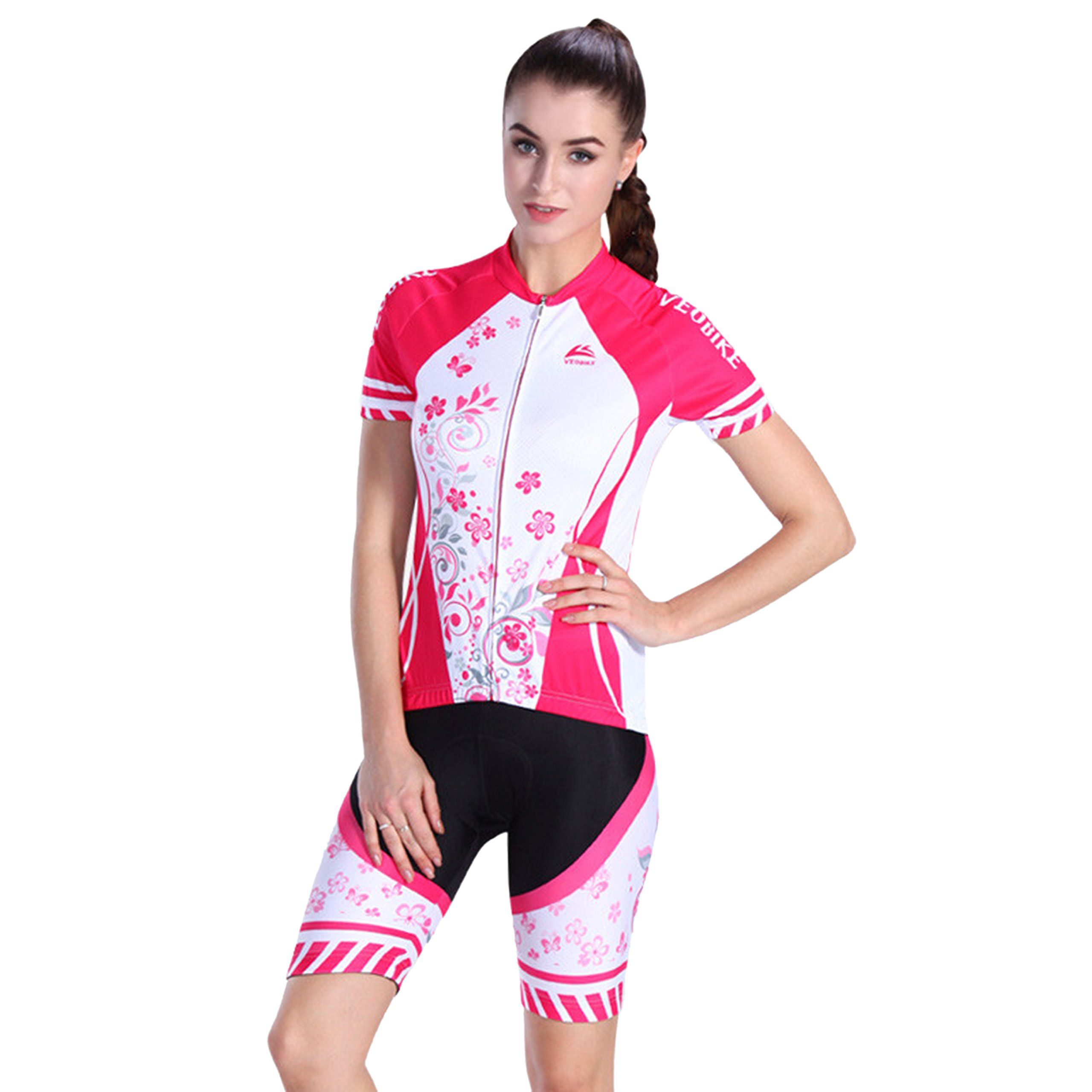 SUNVP Short Sleeve Cycling Jersey with 3D Gel Padded Quick Dry Outfits  Bicycle Sportswear Tops For 59fd6ba2f