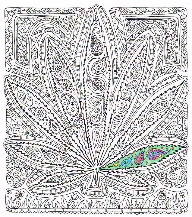 Adult Coloring Page Got Leaf Printable Pot Leaf By Candyhippie