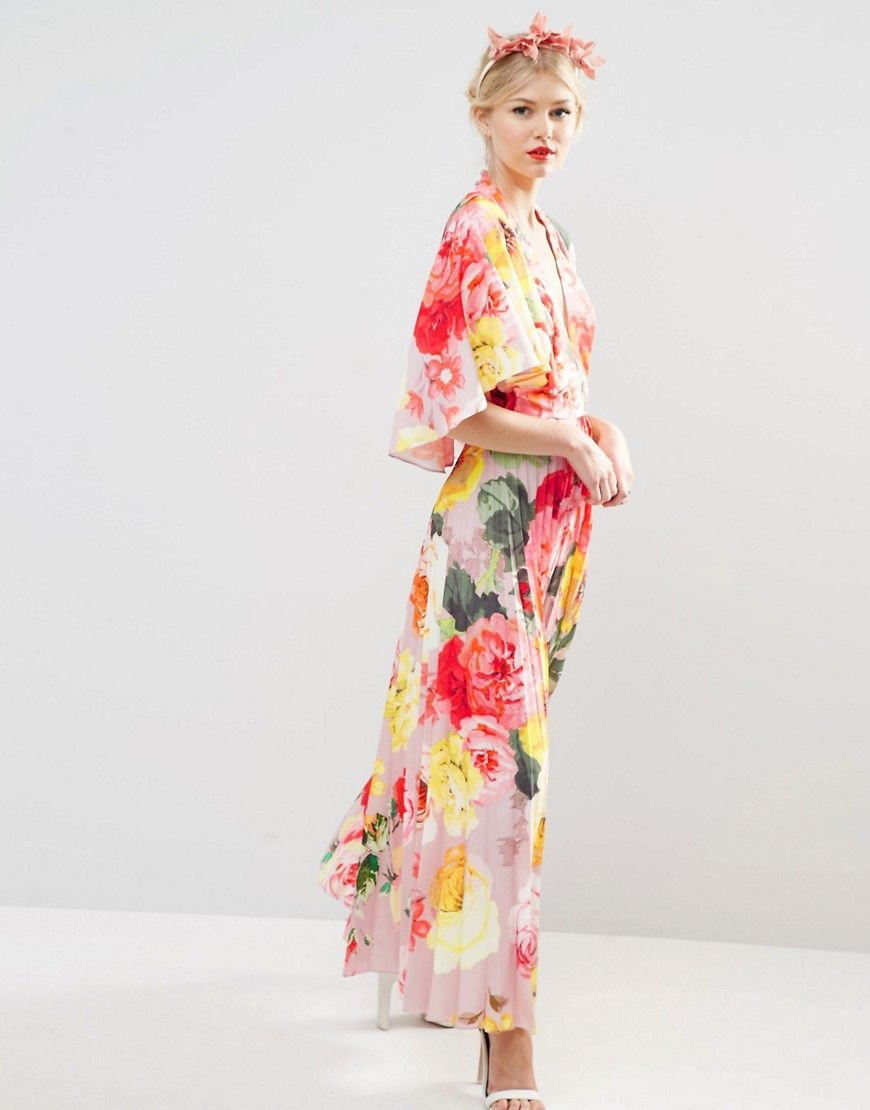 ASOS Petite | ASOS PETITE WEDDING Pleated Maxi Dress with Drape Back ...