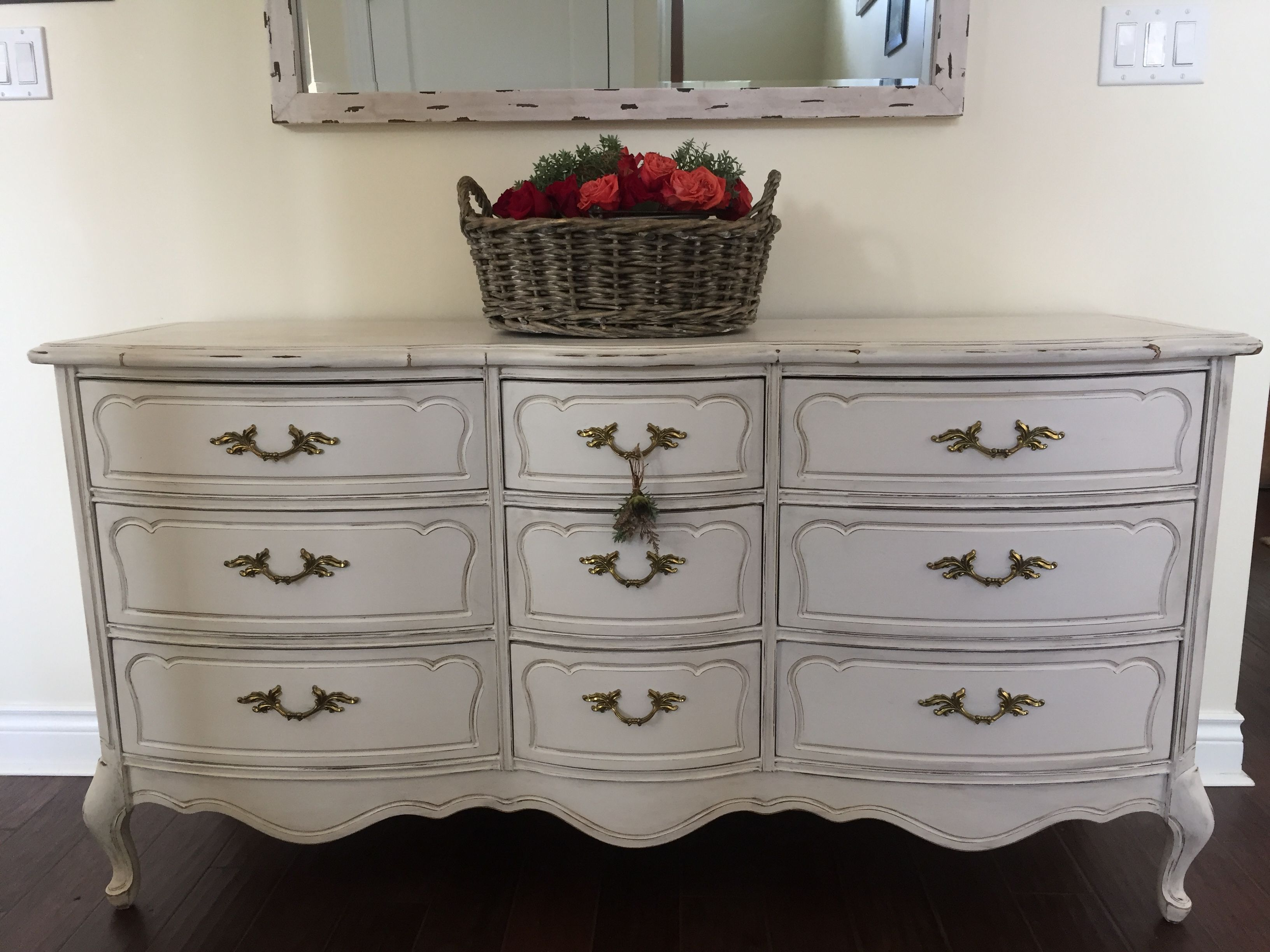 French Provincial dresser refinished in white with black