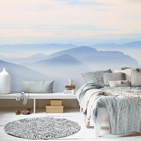 Sky Wall Mural, Self Adhesive Wallpaper, Mountains Removable Mural   Schlafzimmer  Tapeten Gestalten