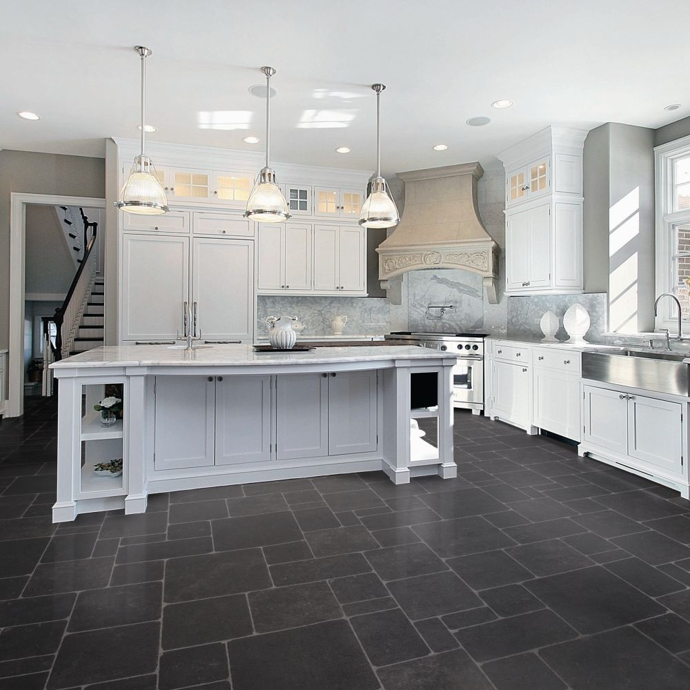 Vinyl flooring ideas for kitchen google search remodel for White cabinets white floor