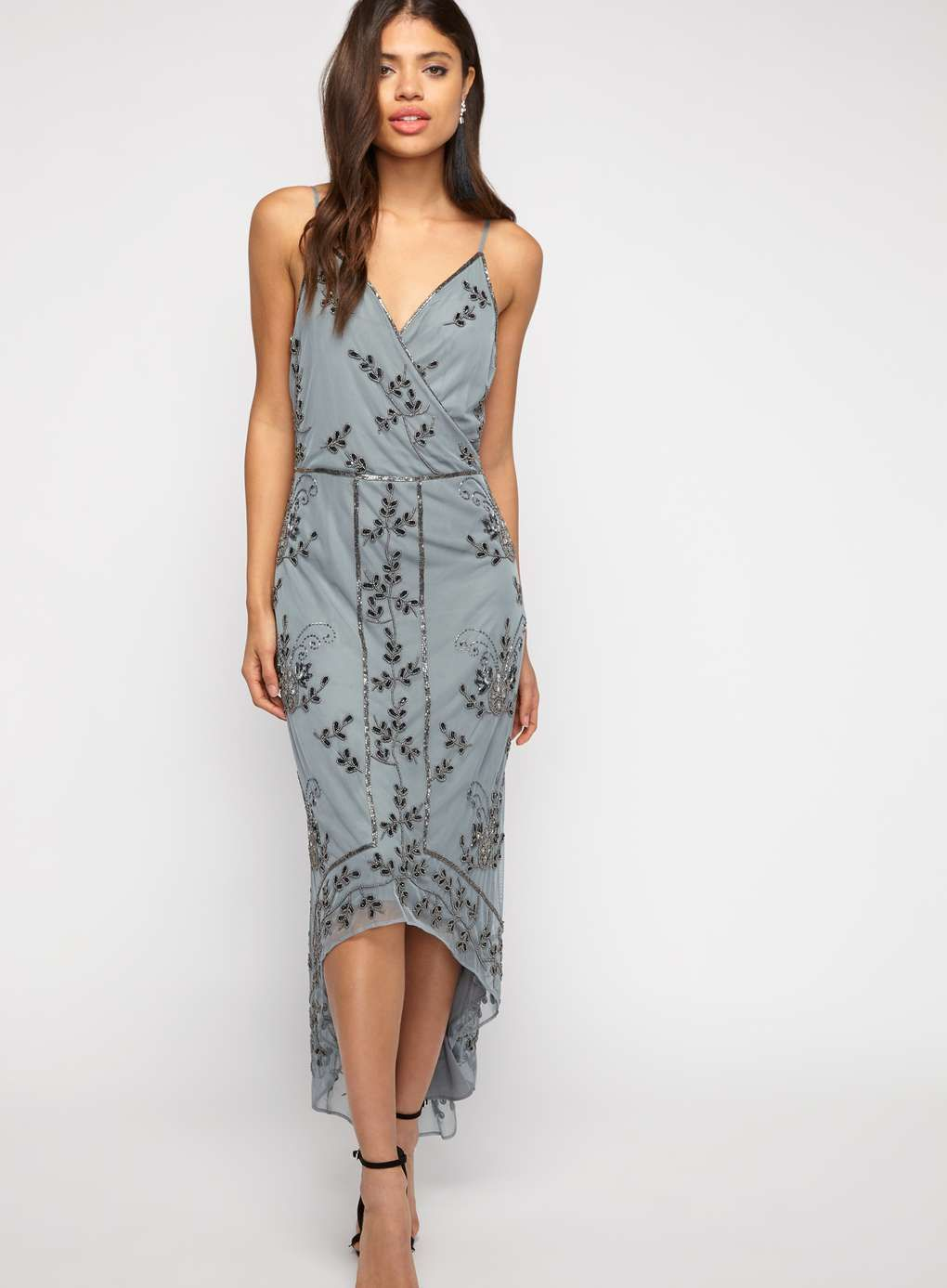 71d45b13d4b2e8 PREMIUM Embellished Wrap Midi Dress - View All - Dress Shop - Miss Selfridge