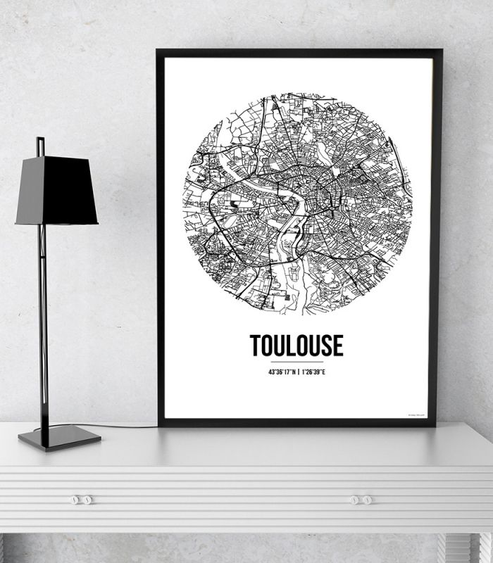 Affiche Toulouse France Street Map Creation Originale Affiche