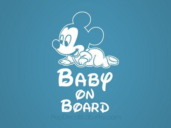 Baby On Board vinyl decal - Disney Baby Mickey - wall decal - car