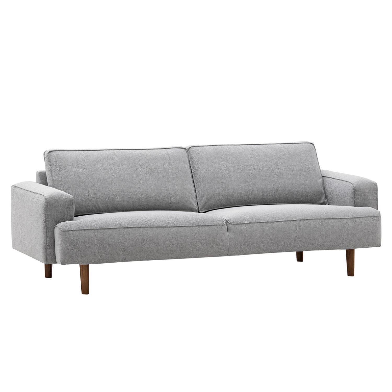 Sofa Navona 3 Sitzer Webstoff Walnuss Stoff Saia Hellgrau