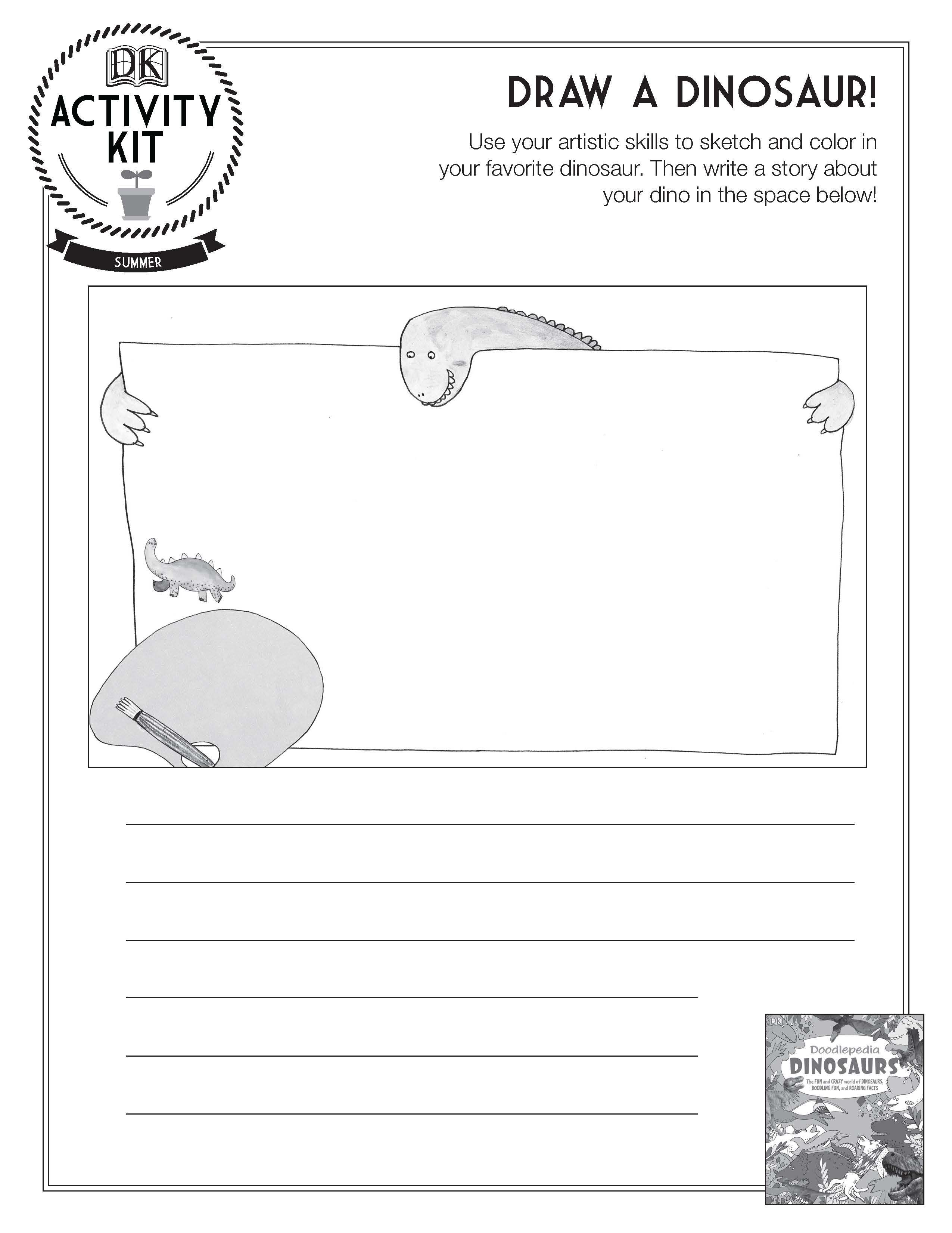 Draw A Dinosaur Activity Sheet Great Idea For A Writing Prompt
