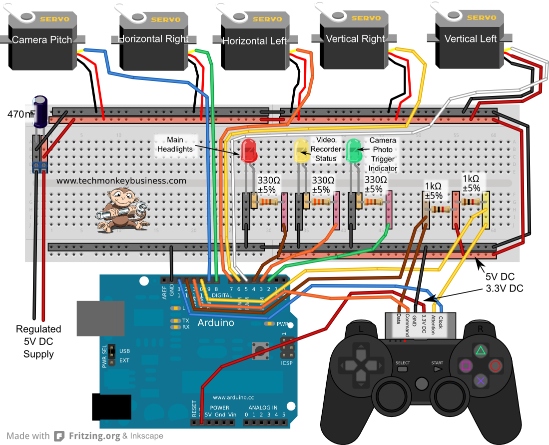 Ps controller arduino and servo circuit next project