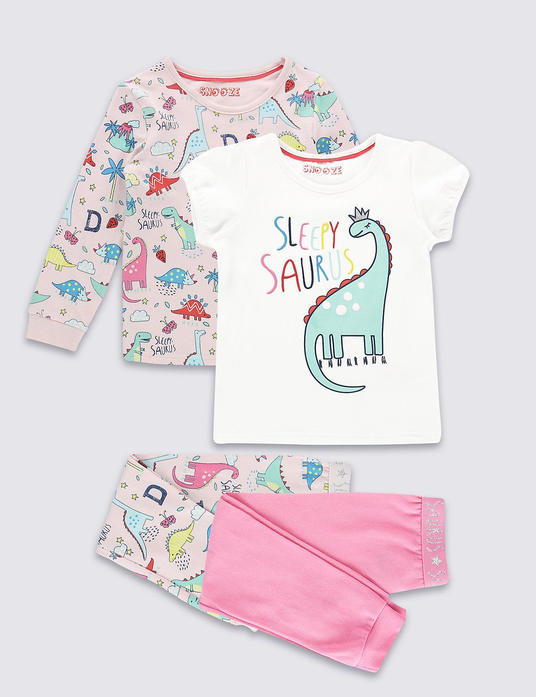2 Pack Cotton Dinosaur Pyjamas With Stretch 9 Months 8 Years Legging Rich 4pc