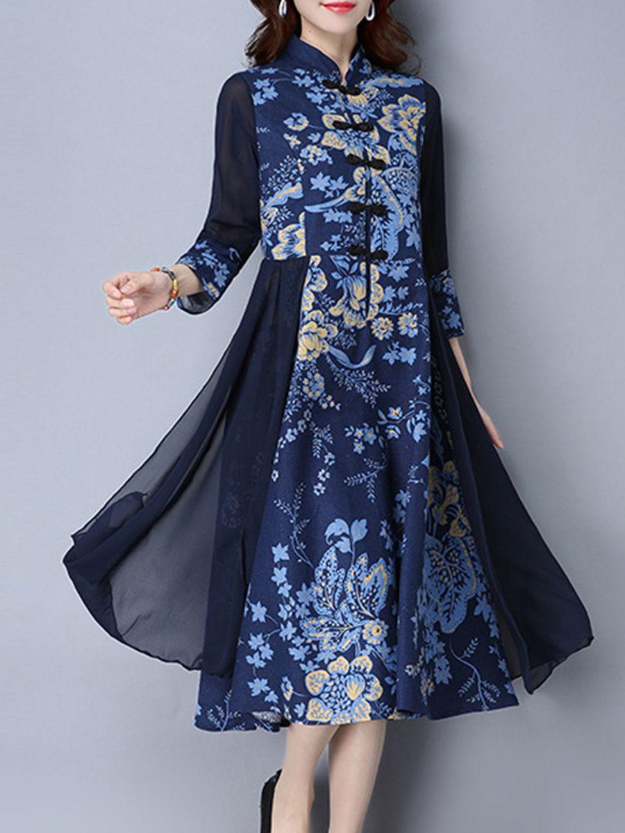 e5deead552c Band Collar Patchwork Ethnic Printed Maxi Dress - fashionMia.com ...