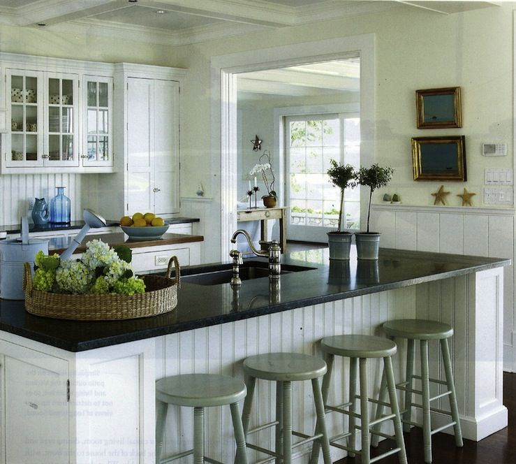 Beadboard Backsplash White Kitchen Island With Butcher