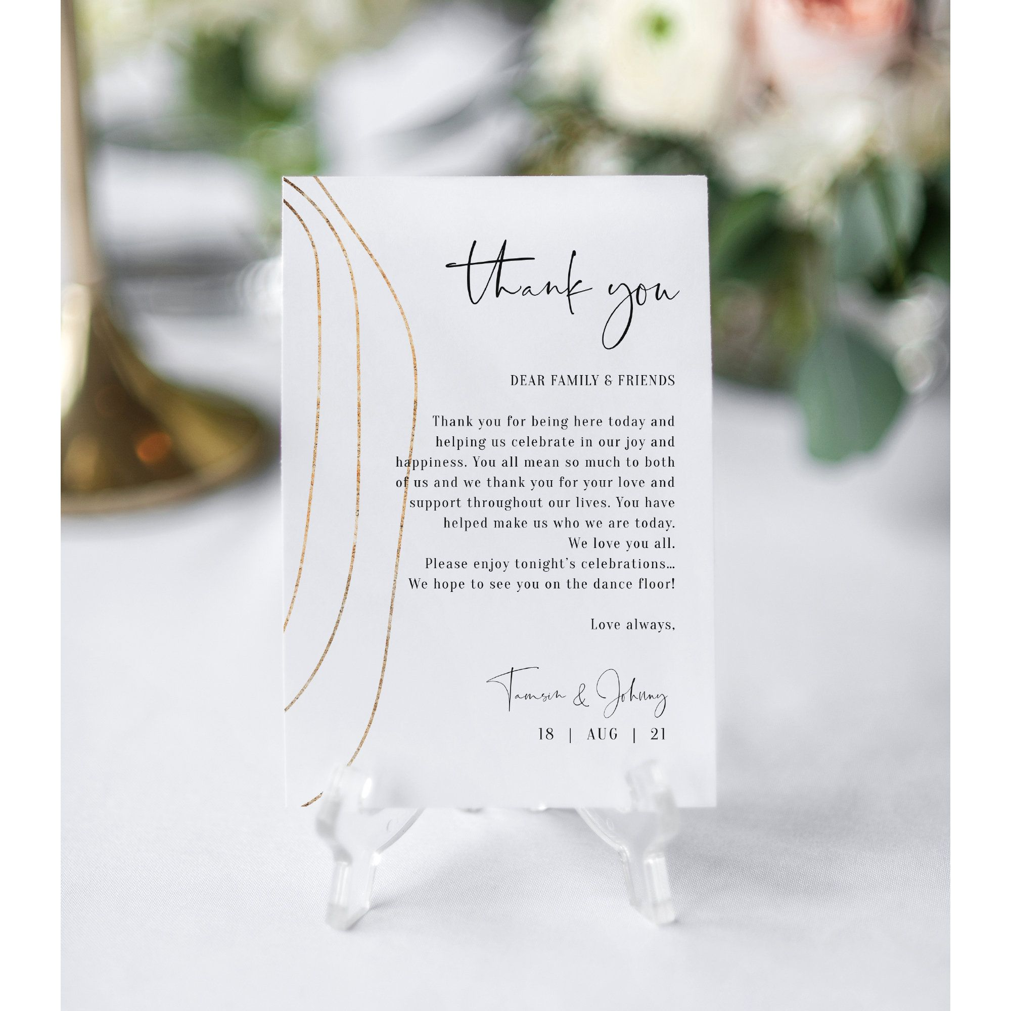 Abstract Gold Thank You Note Printable Wedding Thank You Etsy Wedding Thank You Cards Wedding Thank You Note Card Template
