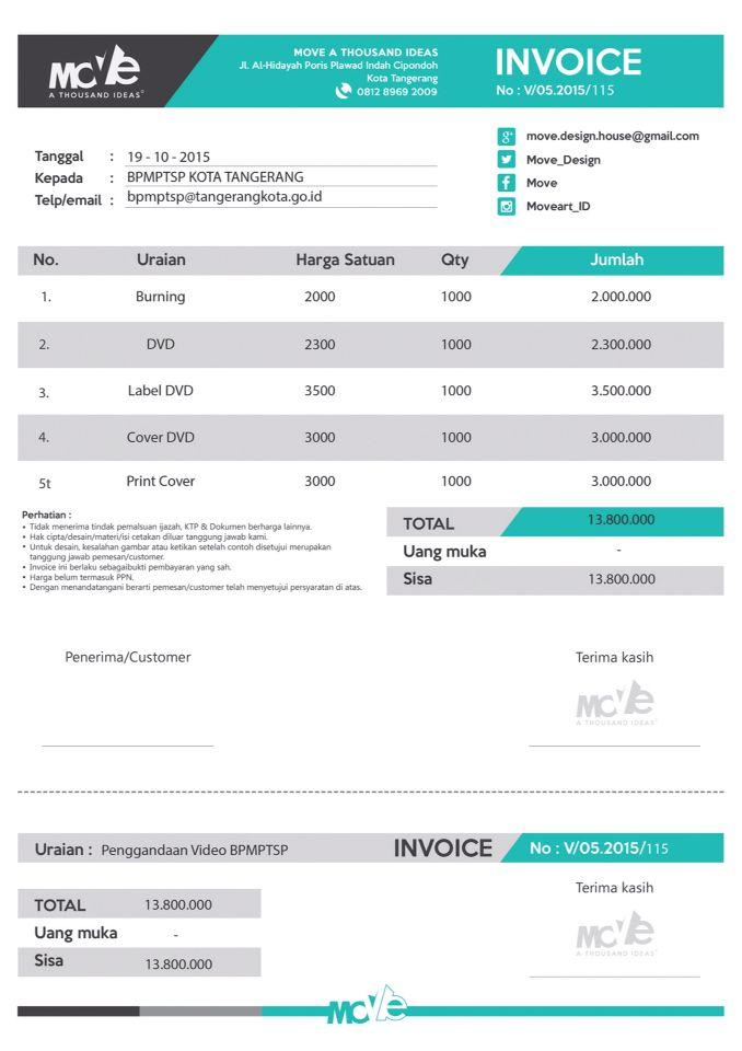 Contoh Invoice Portfolio Design Interior