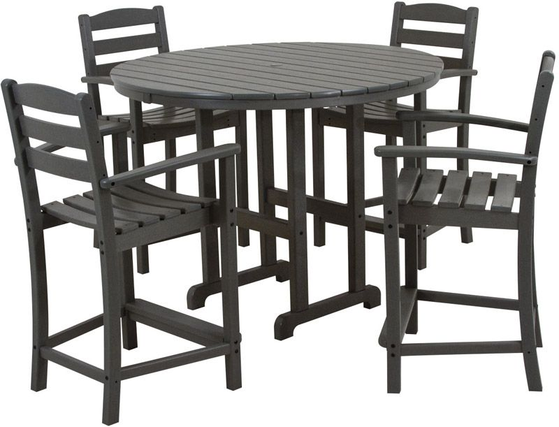 Polywood La Casa Cafe 4-Seat Round Counter Dining Set